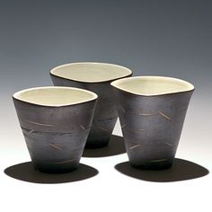 Set of 3 Small Black & White Cups. $25.00 - Taylor Made Pottery