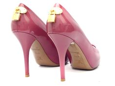 Louis Vuitton Oh Really Pink Patent Leather Open Toe Pump Heels 37.5