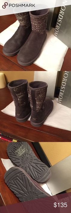 💯%Authentic UGG boots in grey and sequins New without box. No trades/low offers. Was last pair at Nordstrom for $170. UGG Shoes