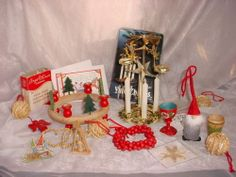Vintage Swedish Items Angel Chimes Jule Straw Ornaments + Dala Horse Cards Lot