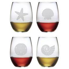 4 Piece Seashore Stemless Wine Glass Set