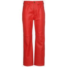 Acne Studios Red Straight Leg Leather Trousers (€1.125) ❤ liked on Polyvore featuring pants, red, red leather trousers, real leather pants, genuine leather pants, acne studios and leather pants
