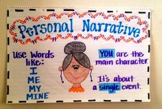 What are personal narratives? Personal narratives are a form of writing in which the writer relates one event, incident, or experience from his/her life. Personal narratives allow you, the writer,. Narrative Anchor Chart, Personal Narrative Writing, Writing Anchor Charts, Personal Narratives, Informational Writing, Writing Binder, Writing Notebook, Kindergarten Anchor Charts, Kindergarten Writing