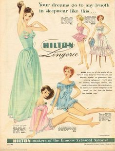 1956 Hilton Lingerie Ad slips night gown babydoll long pajamas 50s pink green blue white color illustration print ad Shapewear - http://amzn.to/2hGpxP0