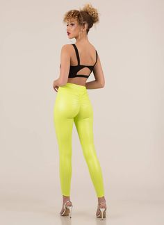 Back Side Ruched Faux Leather Leggings NEONYELLOW Spanx Leather Leggings, Neon Yellow, Vegan Leather, Night Out, How To Wear, Pants, Outfits, Fashion, Trouser Pants
