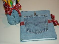 denim journal cover and matching pencil cup tutorial (#13)....lots of ideas to reuse denim on this website