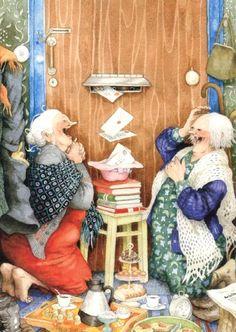 Inge Look Postkaarten 23 Humor Satirico, Getting Old, Old Women, Make Me Smile, Illustrators, Cool Art, Illustration Art, Art Illustrations, Old Things