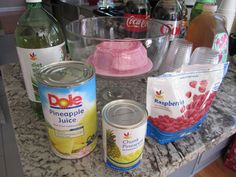 Pink sherbert punch Just 1 Liter of Ginger Ale 1 big can of pineapple juice and any kind of sherbert you prefer!!!! Yummmmy :P