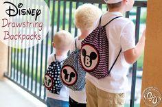 Love these DIY Disney Drawstring Backpacks!