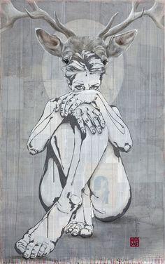 160 : 110 cm. Linoleumdruk, collage en acryl op linnen