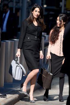 Amal Clooney in vintage Dior skirt suit, Fendi bag and Salvatore Ferragamo shoes
