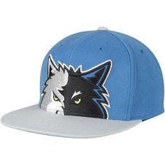 Men s Mitchell   Ness Blue Gray Minnesota Timberwolves Cropped XL Logo  Adjustable Snapback Hat d49dadb53cbb