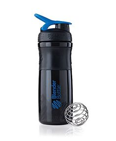 BlenderBottle SportMixer Tritan Grip Shaker Bottle, Black/Blue, 28-Ounce - The BlenderBottle SportMixer fuses form and function to deliver a water bottle that's as versatile as it is beautiful. Premium materials and feature-rich design make the SportMixer the perfect hydration companion, while the BlenderBall wire whisk quickly mixes even the thickest energy and nutriti...