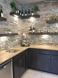 Beautiful wet bar with floating shelves and stone! in kitchen diy Best of the 2017 Parade of Homes - Day 2 – Welsh Design Studio Kitchen Room Design, Home Decor Kitchen, Interior Design Kitchen, Barn Kitchen, Studio Kitchen, Kitchen Ideas, Modern Farmhouse Kitchens, Home Kitchens, Dream Kitchens