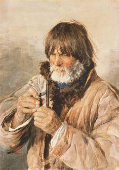 Julian Fałat. Portret mężczyzny z fajką