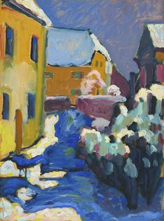Cemetery And Vicarage In Kochel - Wassily Kandinsky Wassily Kandinsky, A4 Poster, Poster Prints, Oil Painting Gallery, Museum, Fine Art Prints, Canvas Prints, Modern Artists, Canvas Paper