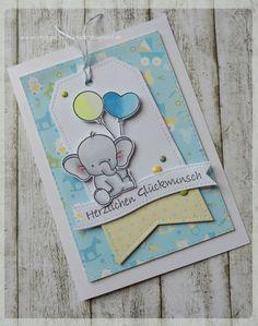 ...da mußte eine Karte her!      Die Tagstanze und der Banner sind von My Favorite things, ebenso der Elefant und die Luftballons.
