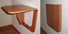 Wall Table Diy, Wall Table Folding, Home Decor Furniture, Table Furniture, Furniture Makeover, Restaurant Kitchen Design, Study Table Designs, Home Office Table, Convertible Furniture