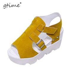 c0161980702a7b Gtime 2017 Summer Sandals Shoes High Heel Casual Shoes footwear flip flops  Open Toe Platform Gladiator