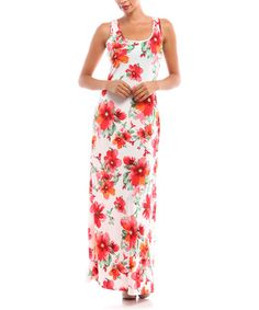 Look at this #zulilyfind! White & Red Floral Racerback Maxi Dress by BOLD & BEAUTIFUL #zulilyfinds