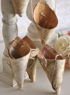 Mini Rustic Birch Bark Flower Holder Cones  #woodlandchristmas