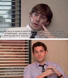 Jim starting out his final talking head with the exact same words he used in a (maybe his first?) talking head in the first episode.  WOW Jim...  you have grown from a boy to a man!  (Though I adore, lust after and appreciate the man, I somehow also really miss that boy!)