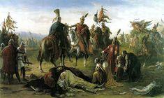 IV László és Habsburg Rudolf találkozása a Morva mezei csata után (vagy dürnkruti csata), 1278. augusztus 26-án.