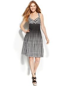 Calvin Klein Sleeveless Ombre Dot-Print Dress - Dresses - Women - Macy's