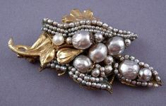 Miriam Haskell Brooch with Rows of Faux Pearls Value
