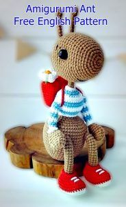 Hardworking ant and his Best Amigurumi Animal Pattern Ideas. Hardworking ant and his bag. Amigurumi toy ant with bag and red shoes. Easy amigurumi ideas for beginners here. Crochet Animal Patterns, Stuffed Animal Patterns, Crochet Patterns Amigurumi, Crochet Animals, Crochet Dolls, Doll Patterns, Crochet Hair, Stuffed Animals, Stuffed Toy