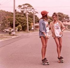 I love how skaters dress, think, act, and skateboarding is the coolest talent there is. I'm learning! (;