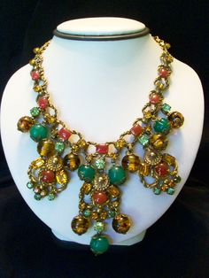 Miriam Haskell Etruscan Revival Glass beaded & Rhinestone Necklace - a  Personal Collection
