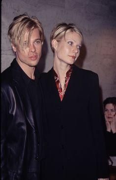 Brad Pitt and Gwyneth Paltrow rocking the same haircut. Brad Pitt, 90s Fashion, Fashion Photo, Fashion Trends, Actor Studio, Gwyneth Paltrow, Celebrity Couples, These Girls, American Actors