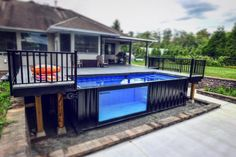 Get inspired by this beautiful Modpool. Turn your backyard into a #pooloasis!😎🤙. #modpools #swimmingpool #container #summer #backyard #deck… Shipping Container Home Designs, Container House Design, Shipping Containers, Building A Container Home, Container Buildings, Mod Pool, Shipping Container Swimming Pool, Small Backyard Pools, Small Pools
