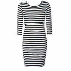 Ally Fashion Panelled stripe body con dress (€18) ❤ liked on Polyvore
