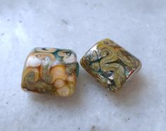 Lampwork Beads Silvered Pillow Beads by CandanLampworkBeads