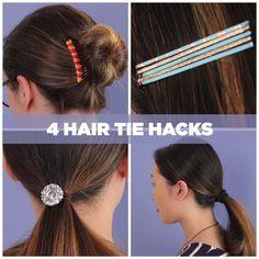 Cuatro trucos de pelo con horquillas. Instrucciones completas:Up Your Hair Game With These Easy Hair Tie Hacks