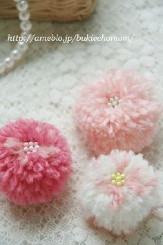 Pom pom + beads = flower