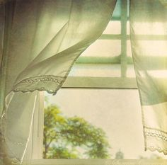~ ♥ ♥ ~ fresh air ~ ♥ ♥ ~ nothing like an open window letting in the summer breeze and the wind blowing the curtains. feel it Window View, Open Window, Window Art, Living Vintage, Looking Out The Window, Through The Window, Summer Breeze, Simple Pleasures, My New Room