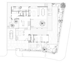 Ground floor plan of Formwerkz Architects house extension features cantilevered concrete box