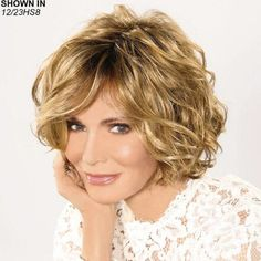 Jaclyn Smith Malibu Waves Wig Lace Front with Short Wavy Style by Paula Young® Wigs for Women Short Brown Hair, Short Wavy Hair, Curly Hair Cuts, Curly Hair Styles, Frontal Hairstyles, Wig Hairstyles, Modern Hairstyles, Haircuts, Lace Front Wigs