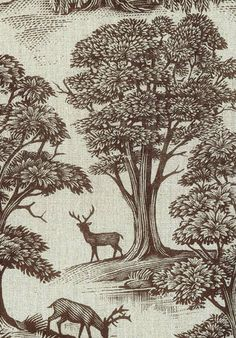 'Deer Park' black and off-white toile fabric from Lewis and Wood, designed by Andrew Davidson