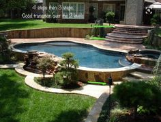 Browse swimming pool designs to get inspiration for your own backyard oasis. Discover pool deck ideas and landscaping options to create your poolside dream. Backyard Pool Landscaping, Swimming Pools Backyard, Swimming Pool Designs, Landscaping Ideas, Semi Inground Pools, Backyard Plants, Above Ground Pool Decks, In Ground Pools, Piscina Diy