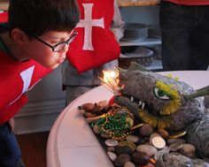 Knight Party Cake: fire-breathing dragon Rice Krispie cake -- Simply Delightful Parties