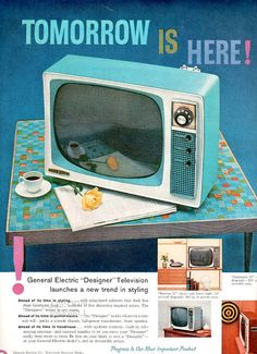 vintage turquoise television 1958 advertisement by FrenchFrouFrou, $14.95