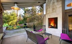 Fab concrete fireplace in this Seattle home