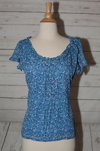 Jaclyn Smith Sz s Blue Lined White Floral Dress Top Blouse Shirt Short Sleeves | eBay