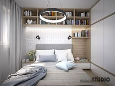 MAŁA SYPIALNIA Studio Apartment Layout, Small Apartment Design, Small Bedroom Designs, Small Room Bedroom, Master Bedroom Design, Home Bedroom, Camas King, Bedroom Pictures, Upholstered Beds