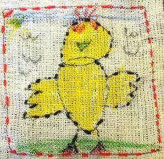 elementary art stitchery - I like the possibility of having the kids stitch and paint on a fabric like this Kindergarten Art Lessons, Art Lessons For Kids, Art Lessons Elementary, Weaving For Kids, Weaving Art, Art Projects, Sewing Projects, Sewing Ideas, Sewing School