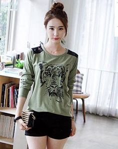 Fashion lace shoulder tiger t-shirts